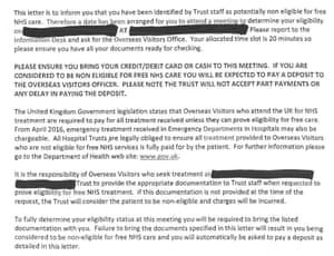 An extract from a letter sent out by the NHS.