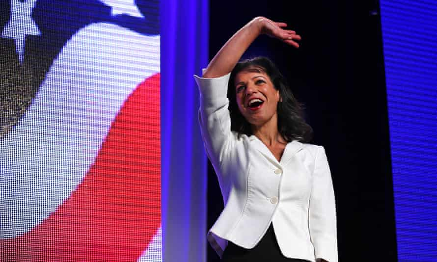 Juliette Kayyem waves to the crowd before her speech at the Democrat state convention in Worcester, Massachusetts, in 2014