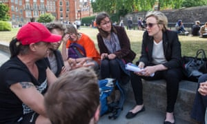 Stella Creasy (right) speaking to members of the public outside the Houses of Parliament