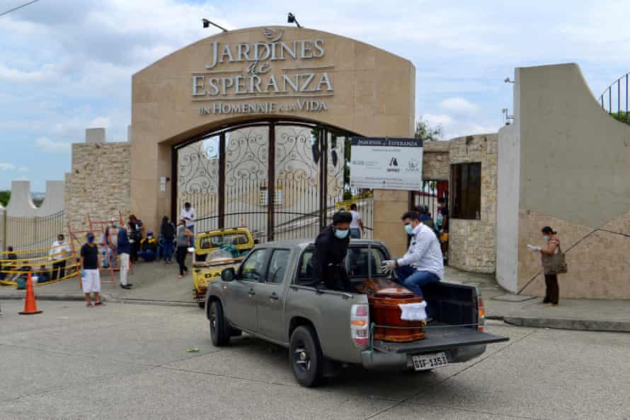 Coffins are transported to a cemetery in Guayaquil