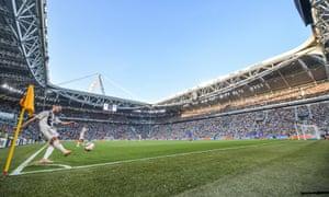 Miralem Pjanic takes a corner at the match between Juventus and Napoli in September. Juventus won 3-1.