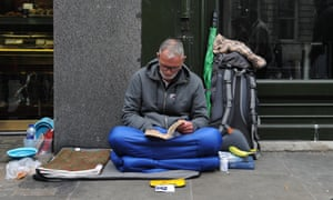 A homeless man in central London. Police are increasingly targeting 'professional beggars'.