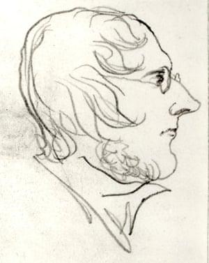 Self-portrait in profile by Branwell Brontë