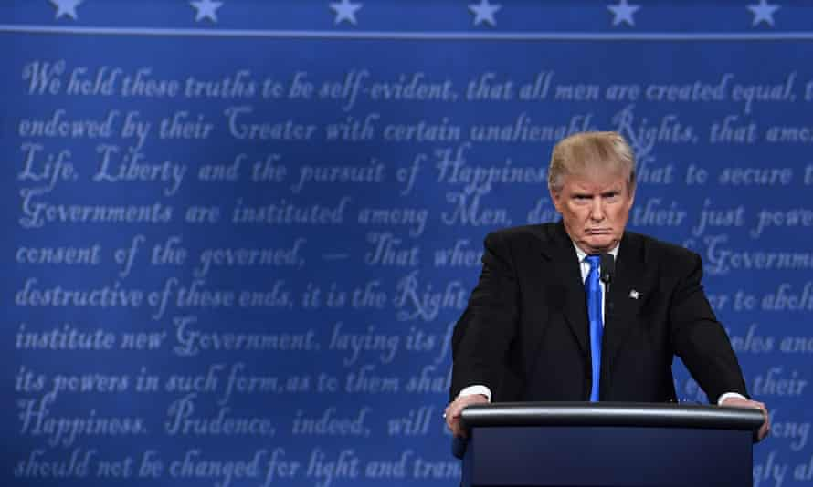 Republican nominee Donald Trump at the first presidential debate at Hofstra University in Hempstead, New York on Monday.