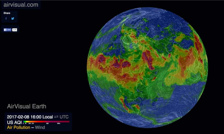 Air Visual's map of global air pollution