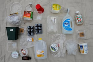 One week's worth of plastic waste, used and collected by the Wilbur family in Wenham, Massachusetts, US.