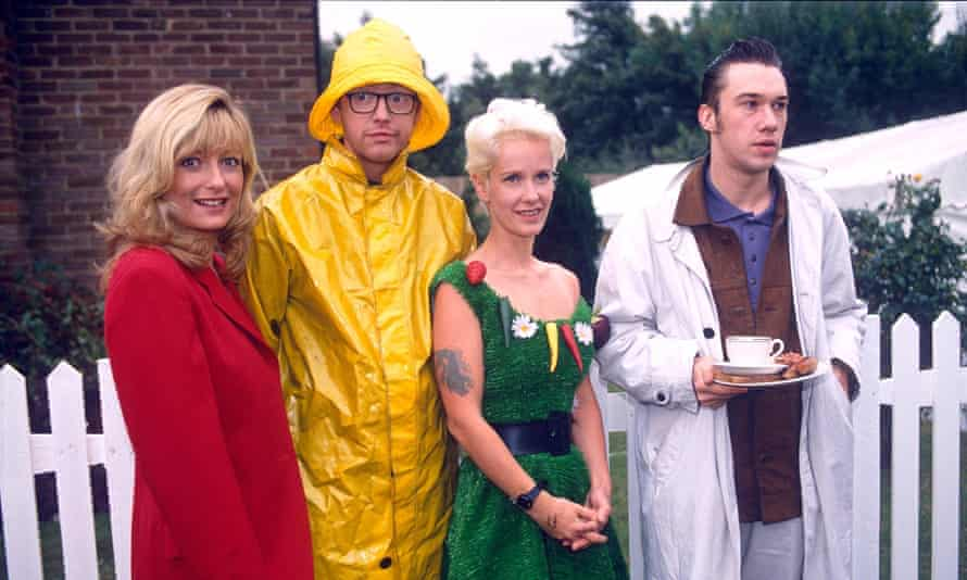 The toast of TV ... (l-r) Gaby Roslin; Chris Evans; Paula Yates; Mark Lamarr.