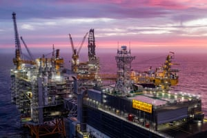The Johan Sverdrup oil field in the North Sea west of Stavanger, Norway.