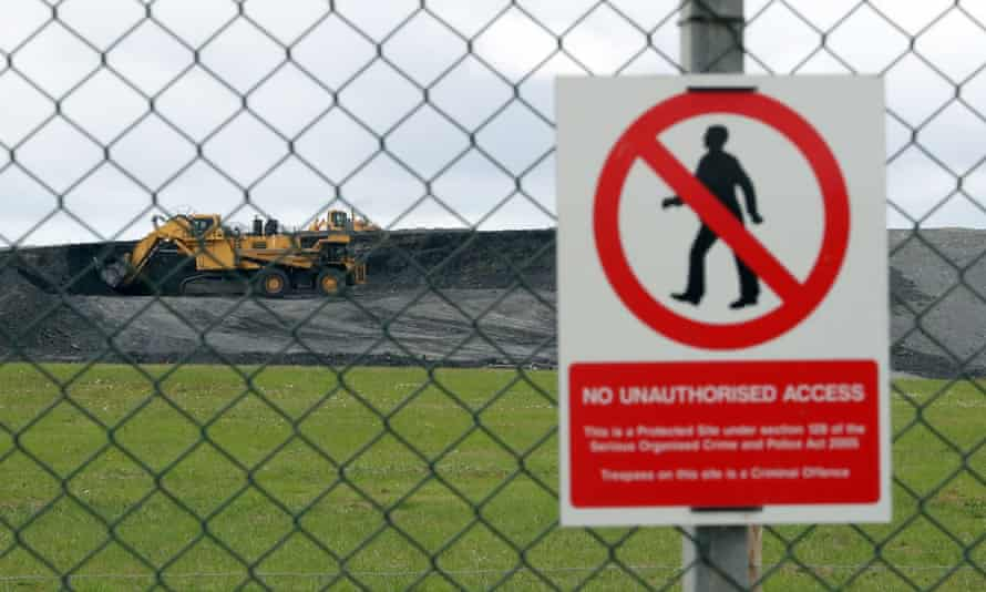 Diggers near to the proposed site of Hinkley Point C nuclear power station in Somerset.