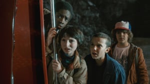 The Stranger Things gang, left to right: Caleb McLaughlin, Finn Wolfhard, Millie Bobby Brown and Gaten Matarazzo in season 1