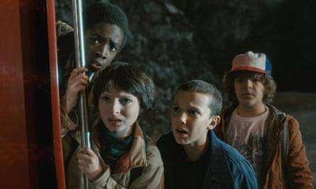 Caleb McLaughlin, Finn Wolfhard, Millie Bobby Brown and Gaten Matarazzo in Stranger Things.