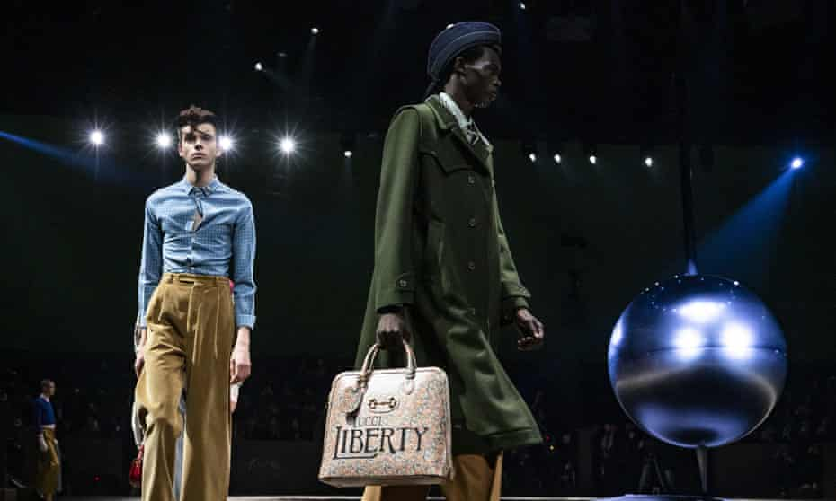 Models walks the runway at the Gucci show at Milan fashion week