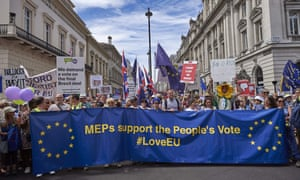 Demonstrators gather for the People's Vote march in central London on 23 June.
