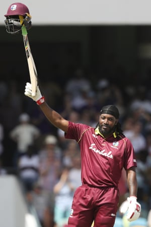 West Indies & Chris Gayle has a & # 39; celebrate after a century to set us up against England.