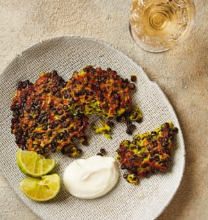 Yotam Ottolenghi's courgette, lentil and turmeric fritters.