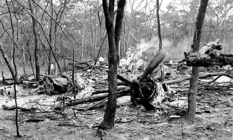 Wreckage of the DC-6 plane after it crashed in a forest near Ndola, killing Dag Hammarskjöld.