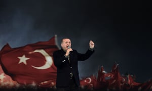 Turkish President Recep Tayyip Erdoğan delivers a speech in Istanbul in March 2017.