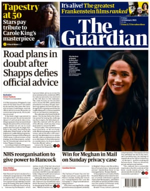 Guardian front page, Friday 12 February 2021
