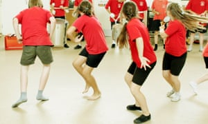 Pupils dance at a primary school in Norfolk.