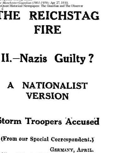Guardian breaks the Oberfohren Memorandum story, 27 April 1933.
