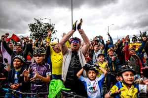Colombians in Zipaquira celebrate as they watch Stage 20 22-year-old Egan Bernal is poised to become Colombia's first Tour de France winner and the youngest winner since World War II