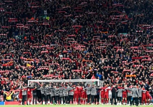 Liverpool players stand in front of their fans after their remarkable Champions League semi-final fightback against Barcelona