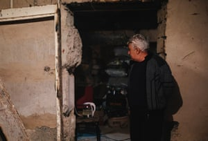 Sergei Hovhnnesyan stands inside a bomb shelter in the city of Stepanakert, in Nagorno-Karabakh.