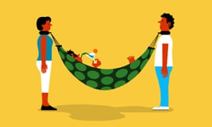 Illustration of woman sipping a drink in hammock that is hung off the  necks of a man and a women