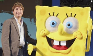 Stephen Hillenburg posing with SpongeBob SquarePants at an event held at the Tokyo International Anime fair, Japan, in 2006.