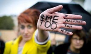 A woman at a #MeToo rally in Place de la République in Paris