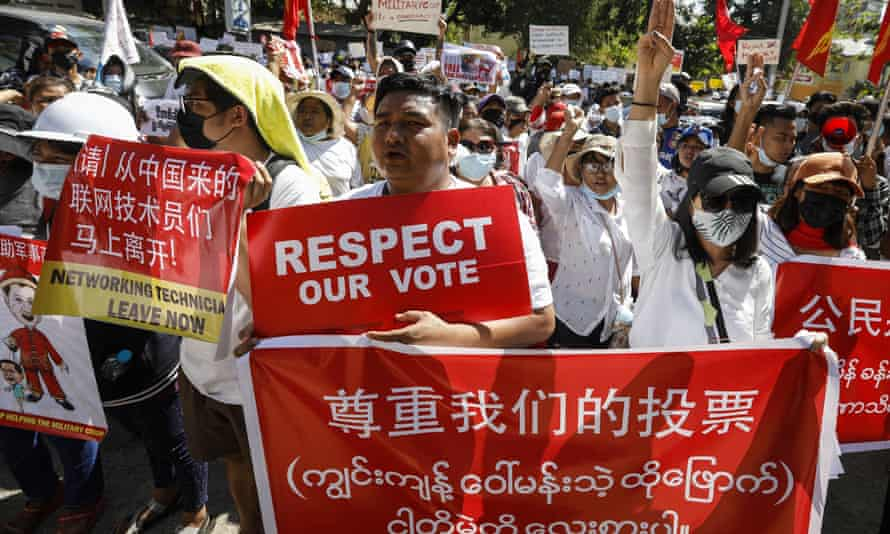 Protests against the military coup in Yangon, Myanmar