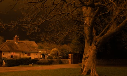 Falmer Village in the South Downs, pictured at 9pm when the lights were on at the Amex stadium