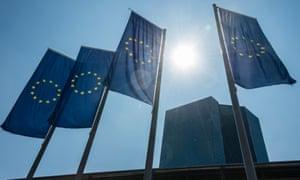 EU flags outside the European Central Bank