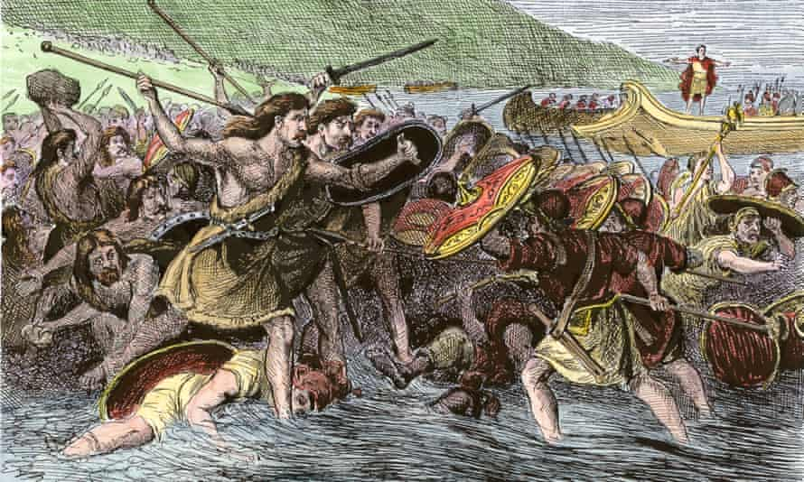 Julius Caesar's army landing in Britain. Archaeologists believe that the wide, shallow Pegwell Bay on Kent's easterly tip, is the most likely landing spot.