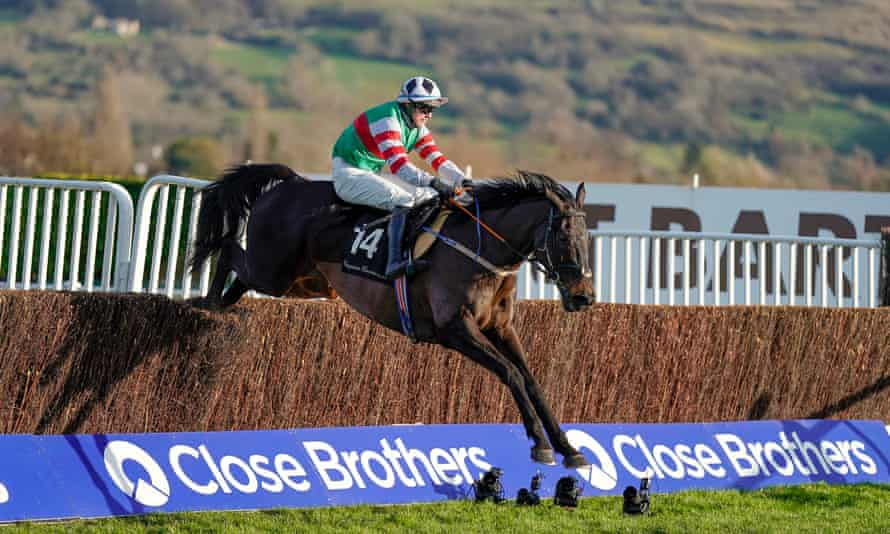 Darragh O'Keeffe rides Chatham Street Lad clear at the last to win the Caspian Caviar Gold Cup at Cheltenham.