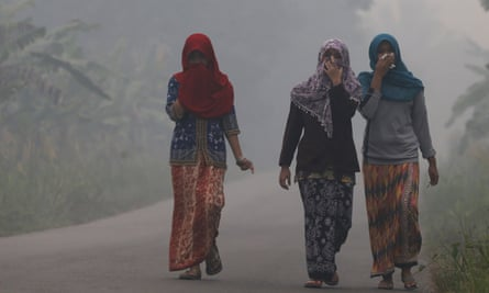 Villagers shrouded by haze on the Indonesian island of Sumatra