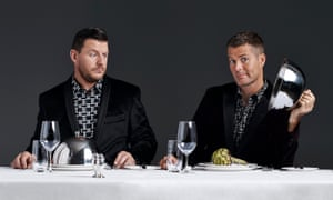 My Kitchen Rules co-hosts Manu Feildel and Pete Evans, in a publicity still from 2016