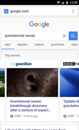 An example of how a Google search will produce a carousel of Amp articles for readers