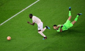 Romelu Lukaku bursts past Ginaluigi Buffon after capitalising on Thilo Kehrer's mistake to put United on the road to victory in Paris.