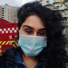 Mariam Chaudhary, after escaping the fire.