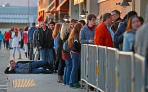 A long line of shoppers wait for the Best Buy to open for Black Friday in Orem, Utah, US