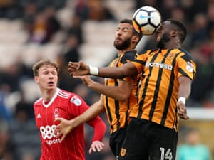 Hull City's Kevin Stewart and Adama Diomande in action KCOM Stadium. Hull walked into the next round winning 2-1.