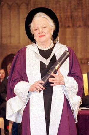 Olivia de Havilland holds her Honorary Degree