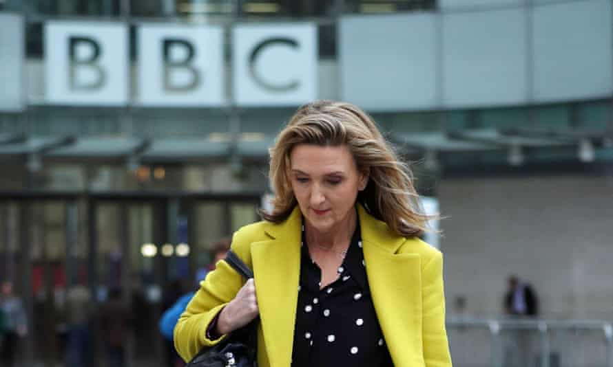 Presenter Victoria Derbyshire leaves BBC Broadcasting House in London, after it was announced that her TV programme is being taken off air.