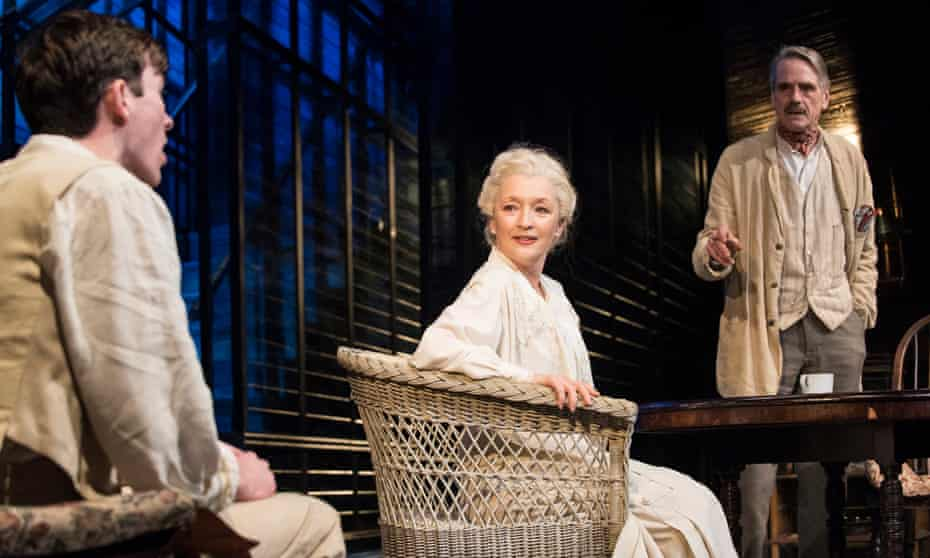 Matthew Beard as Edmund, Lesley-Manville as Mary and Jeremy Irons as James Tyrone in Long Day's Journey Into Night at Wyndham's theatre, London.