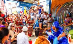 Crowds watching a performance in Callejon de Hamel in Havana, Cuba.