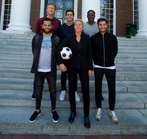 Elberse with – clockwise from left – Dani Alves, Edwin van der Sar, Kaká, Mario Melchiot and Nuri Sahin.