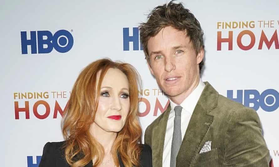 JK Rowling and Eddie Redmayne together at a film premiere last December.