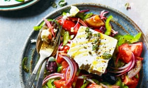 Ultimate Greek Salad by Georgina Hayden. The Observer's 20 best tomato recipes supplement. Food Stylist: Kim Morphew Prop stylist: Tamzin Ferdinando