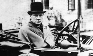 Winston Churchill in his car, circa 1925.
